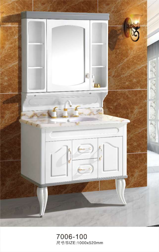 100cm White Bath Cabinet With Nature Marble Top